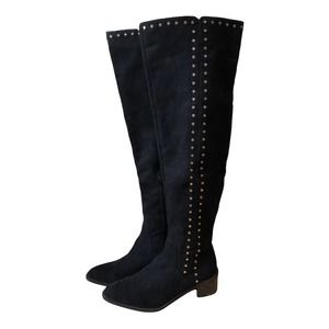 Fergie Harlin Black Faux Suede Over the Knee Boot Women's 7